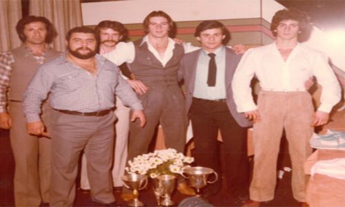 Με τον αδελφό μου Κώστα, Γιώργο Τρομάρα, Πέτρο Κατσικαρέλη και Γιάννη Βάββα