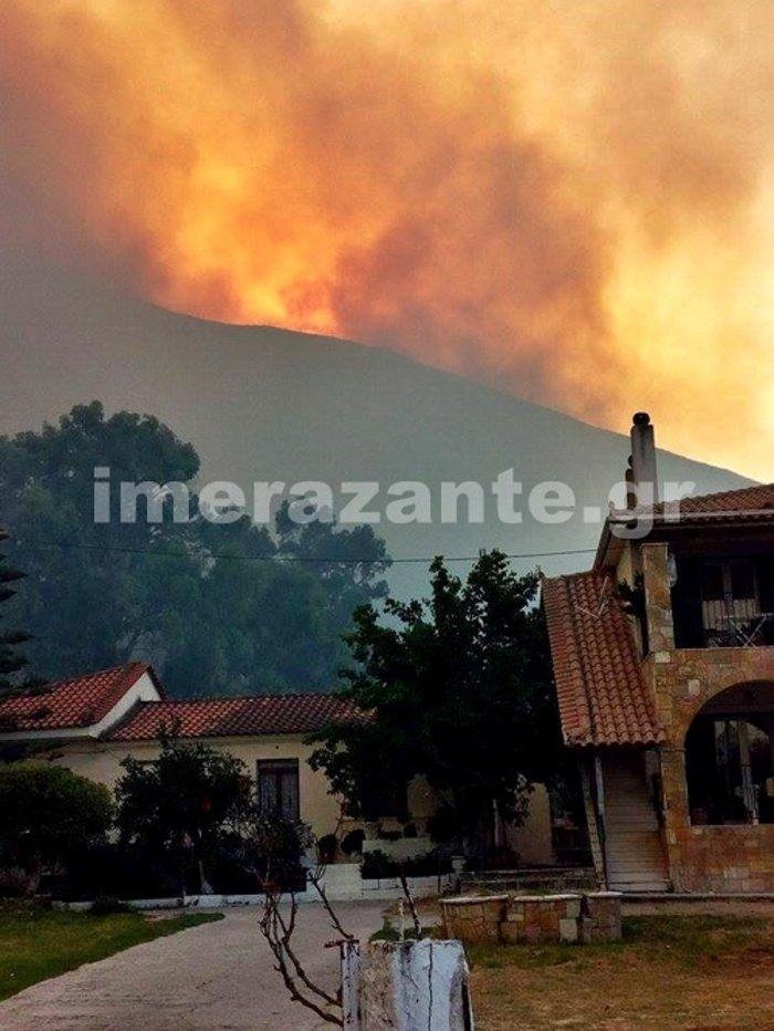 Συνολικά επιχειρούν 58 πυροσβέστες με 24 οχήματα, ένα ελικόπτερο και 10 άτομα πεζοπόρο.