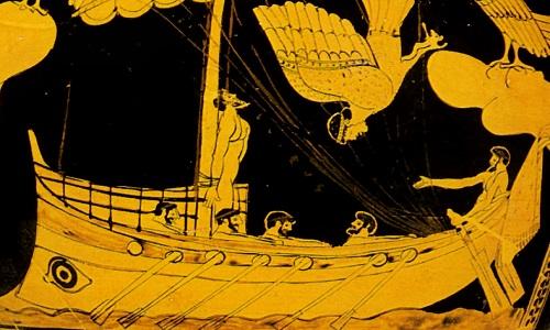Ο Οδυσσέας δεμένος στο κατάρτι. Οι Σειρήνες αποτυγχάνουν να τον πλανέψουν και πέφτουν στη Θάλασσα (British Museum, Λονδίνο)